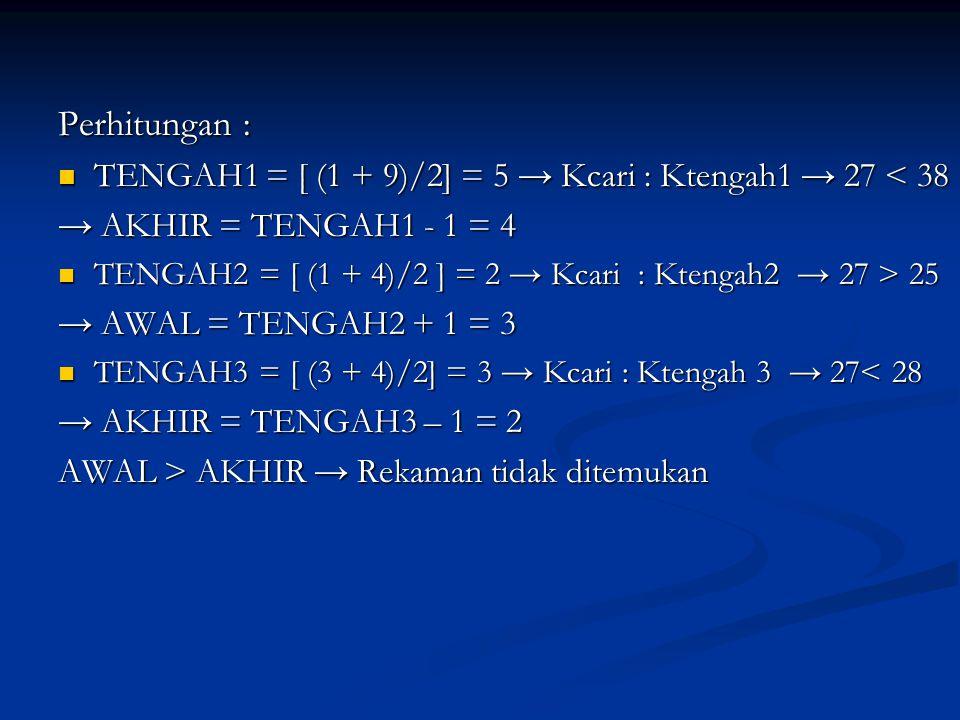 Perhitungan : TENGAH1 = [ (1 + 9)/2] = 5 → Kcari : Ktengah1 → 27 < 38. → AKHIR = TENGAH1 - 1 = 4.